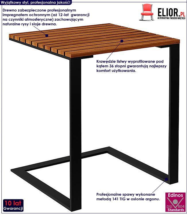Drewniany stolik ogrodowy kwadratowy Norin