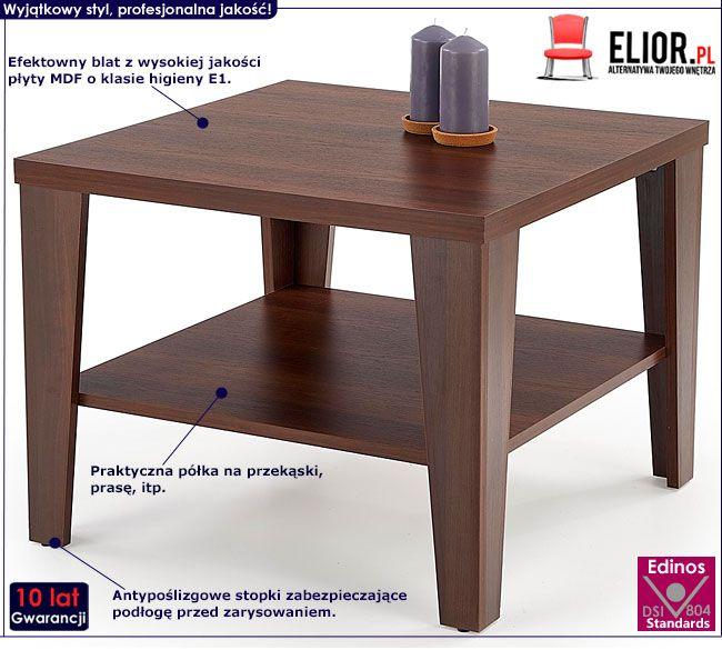 Kwadratowy stolik do salonu ciemny orzech Sarea 2X
