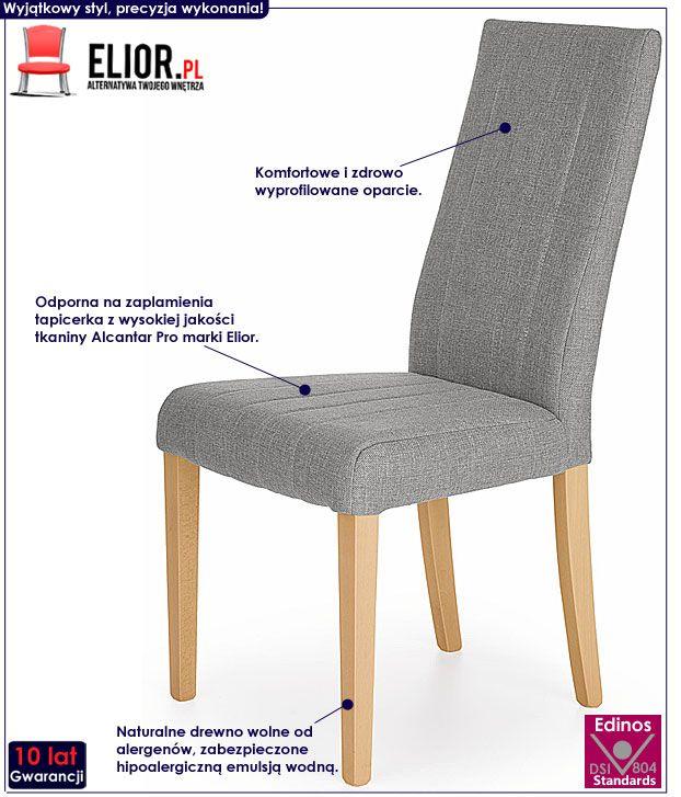 Szare krzesło drewniane do kuchni, jadalni Iston