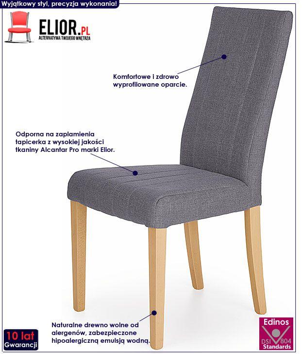 Drewniane szare krzesło kuchenne Iston