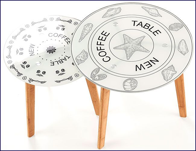 Dwie drewniane ławy okrągłe z printem Mandi