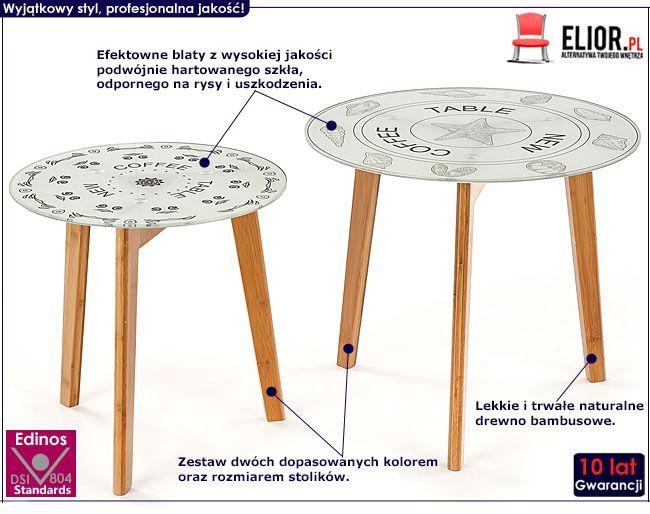 Zestaw dwóch okrągłych stolików szklanych Mandi