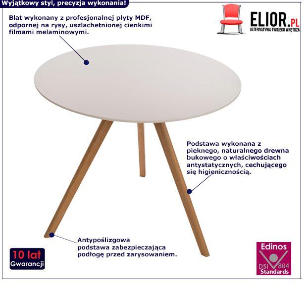 Designerski stolik Lanum - biały