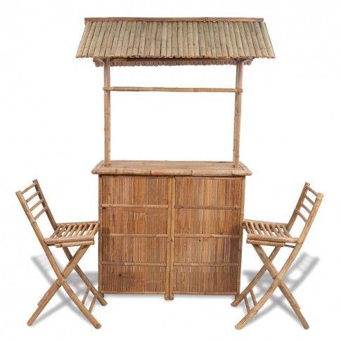 Zdjęcie produktu Zestaw mebli bistro z bambusa Havanas - brązowy.