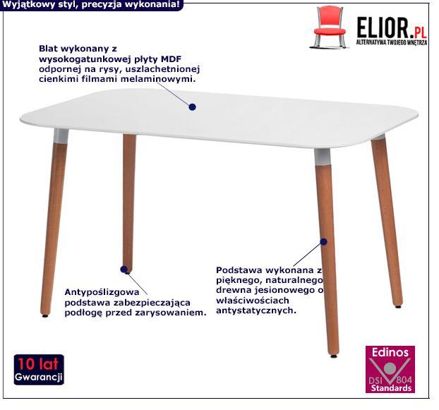 Prostokątny stół Tallik - biały