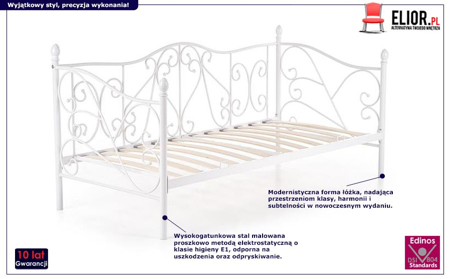 Gustowne łóżko Dolie - białe