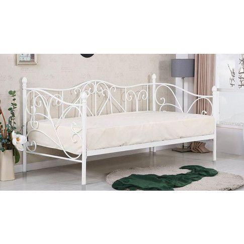Zdjęcie produktu Pojedyncze metalowe łóżko jednoosobowe Dolie 90x200 - białe.