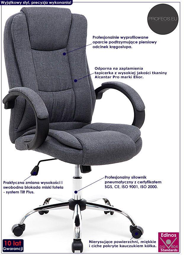 Szary fotel obrotowy do biura Ariel 2X