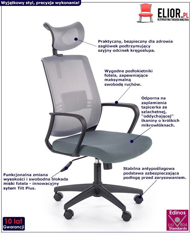 Stylowy fotel obrotowy Retos - szary