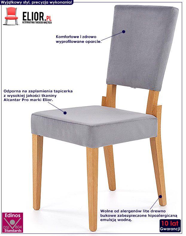 Popielate krzesło drewniane kuchenne Elton