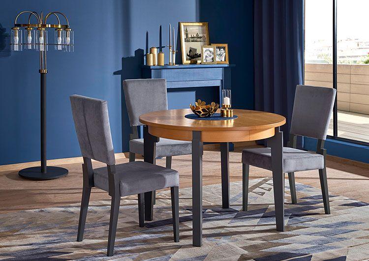 Popielate krzesło z drewna do kuchni, salonu Elton