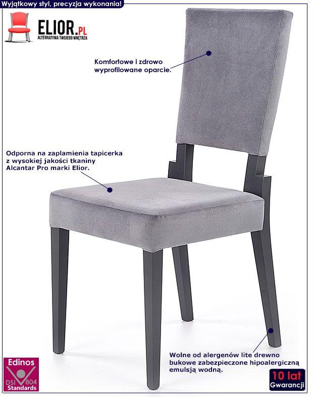 Szare krzesło drewniane do jadalni Elton