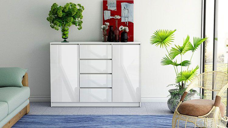 Biała komoda na wysoki połysk z szufladami Intia 3X