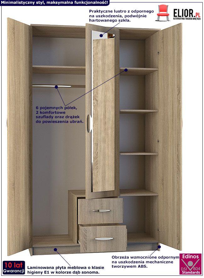 Szafa z lustrem 120 cm dąb sonoma Amira 3X