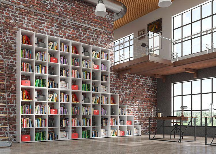 Biały łączony regał na książki do domu biura biblioteki Maleo 5X