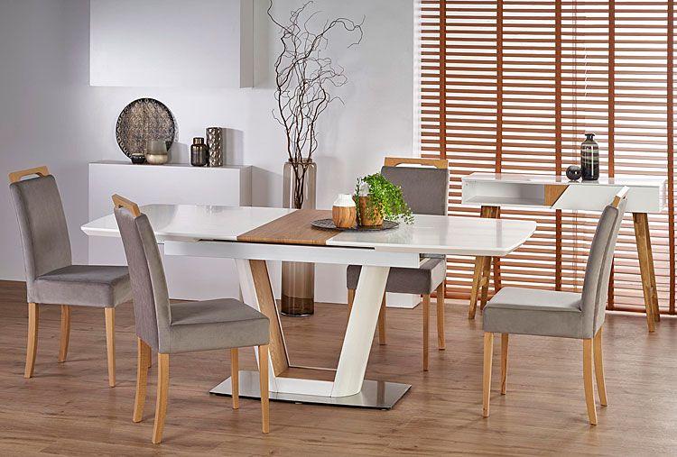 Tapicerowane szare krzesło do jadalni, salonu Tridin