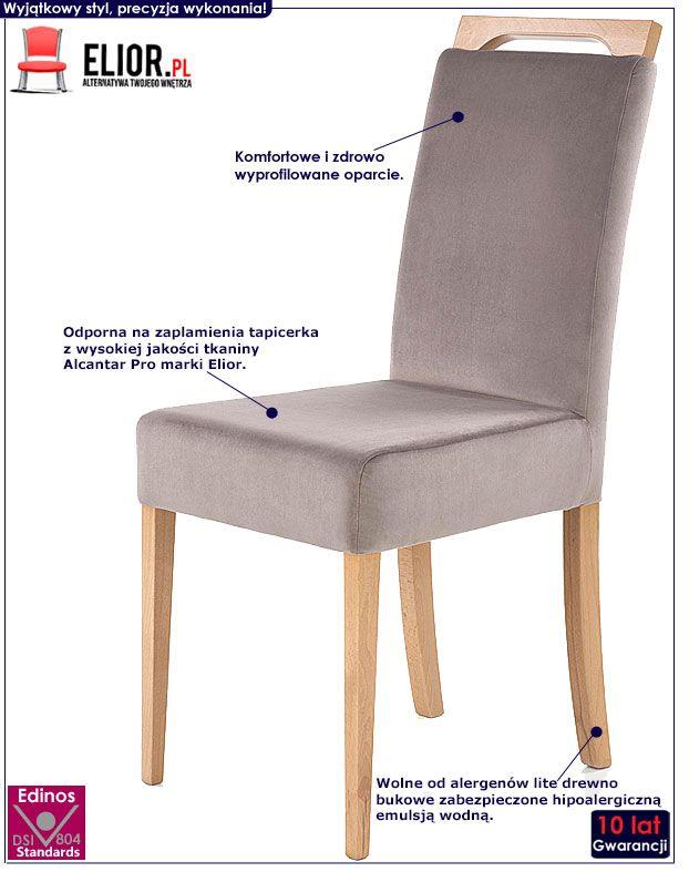 Szare krzesło drewniane do jadalni Tridin