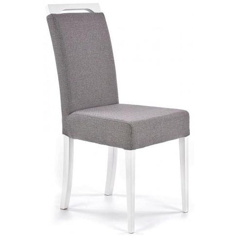 Białe bukowe krzeszło z szarą tapicerką Tridin