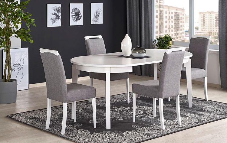 Popielate krzesło tapicerowane do jadalni Tridin