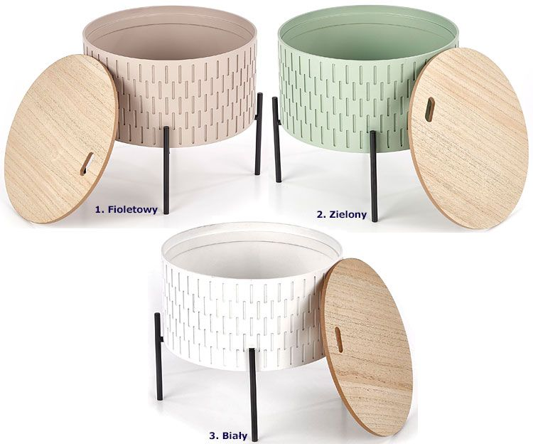 Okrągły drewniany stolik kawowy z pojemnikiem Alifa