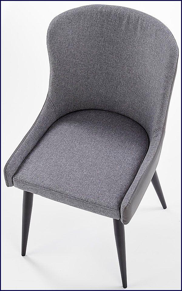 Szare krzesło tapicerowane do salonu Metor