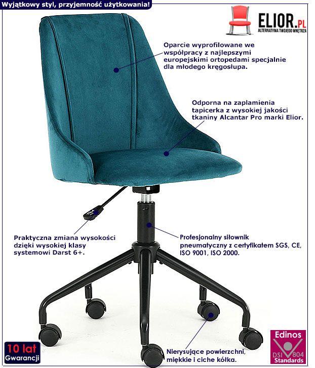 Zielony fotel obrotowy dla ucznia Nemis