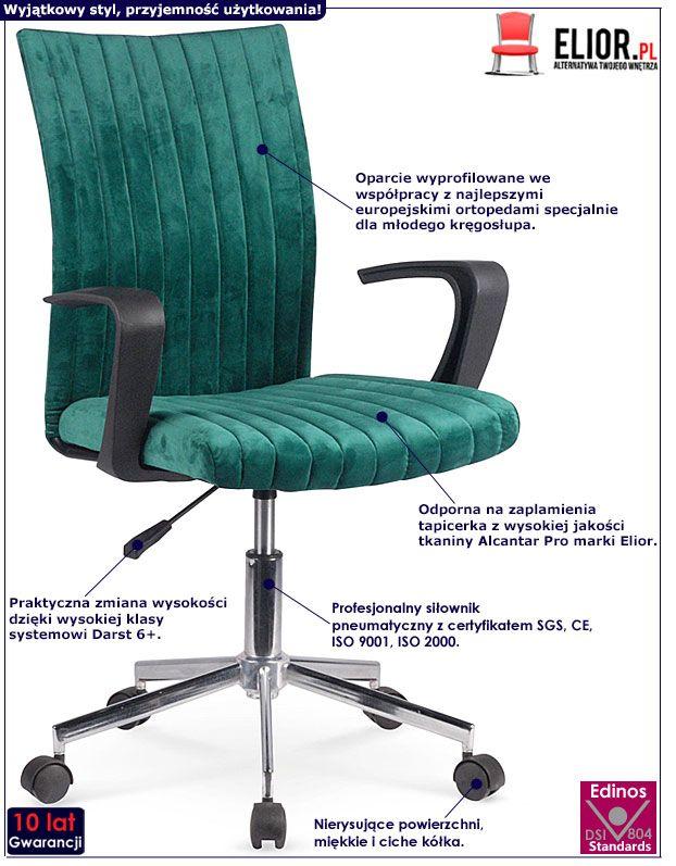 Zielony fotel obrotowy dla ucznia Entler