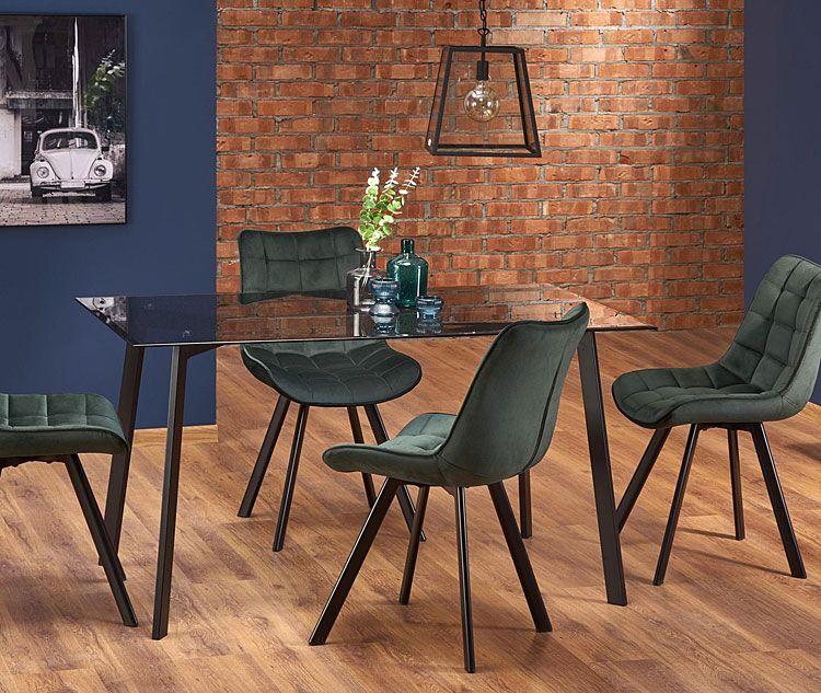Zielone krzesło pikowane do kuchni, salonu Winston