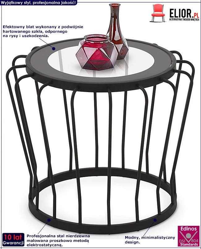 Szklany okrągły stolik druciany Reeva