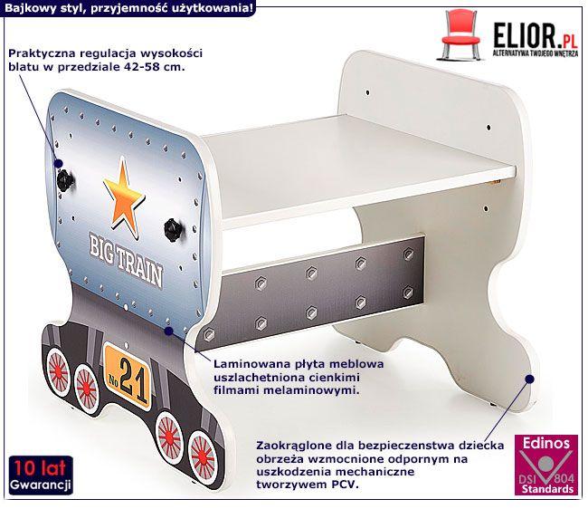Biurko dziecięce z regulacją wysokości wagonik Milo 5X
