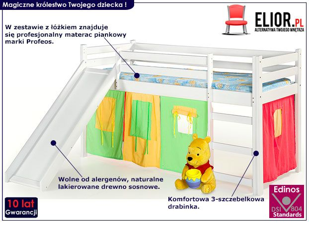 Białe łóżko piętrowe dla dziecka ze zjeżdżalnią Flaser