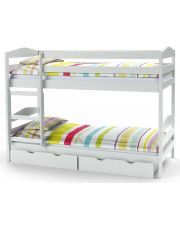 Drewniane łóżko piętrowe Dixi - białe