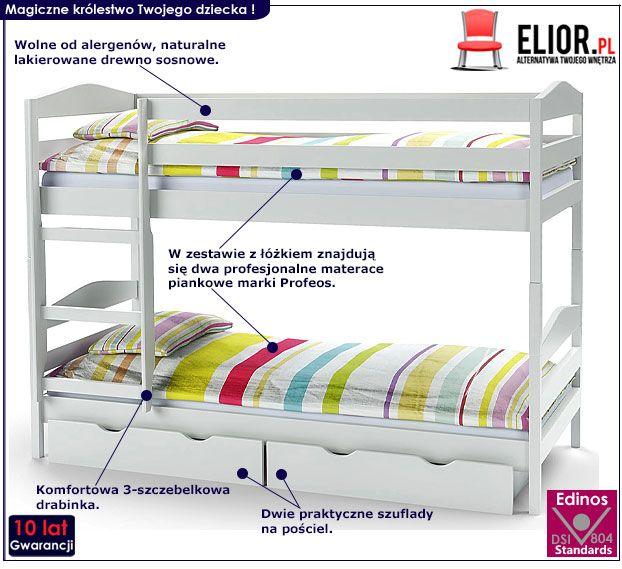 Białe drewniane łóżko piętrowe dla dzieci Dixi