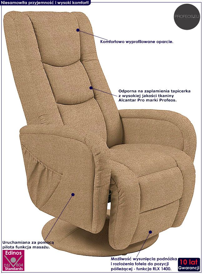 Beżowy rozkładany fotel z masażem Litos 2X
