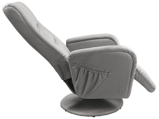 Szary fotel do salonu z podnóżkiem Litos 2X