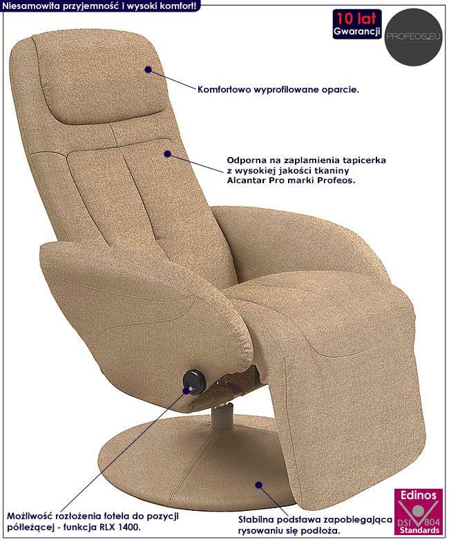 Beżowy fotel rozkładany do salonu Timos 2X