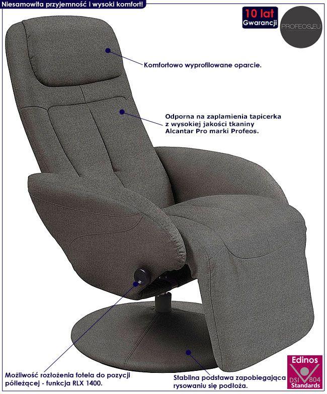 Szary fotel wypoczynkowy do leżenia Timos 2X
