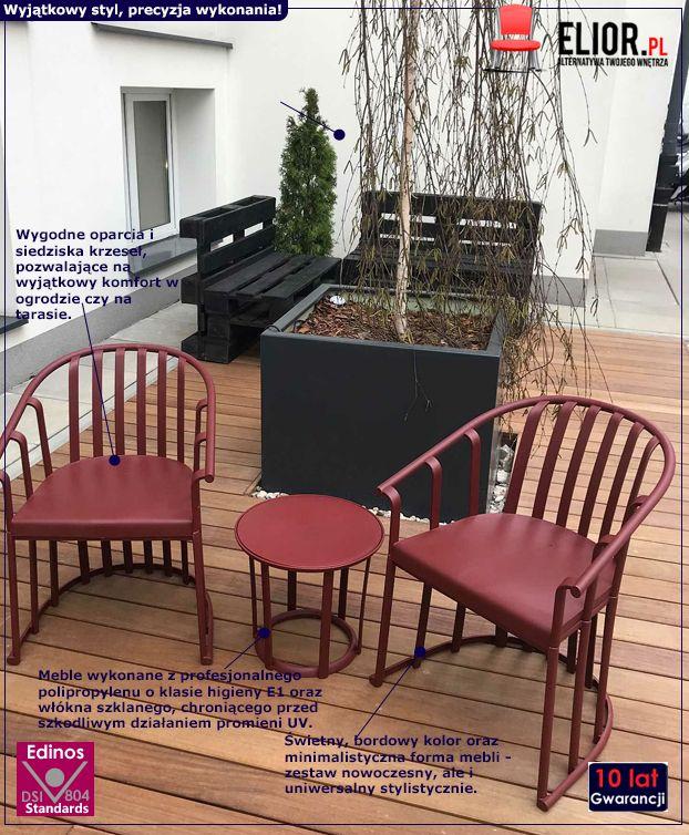 Nowoczesny zestaw mebli ogrodowych Dalio - bordowy