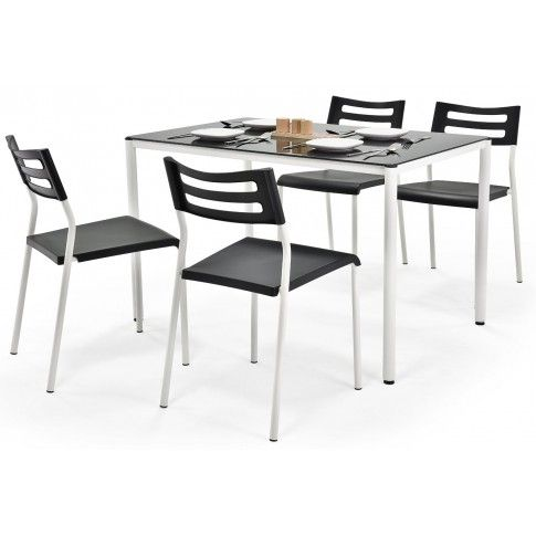 Zdjęcie produktu Stół z krzesłami Creola - czarny.