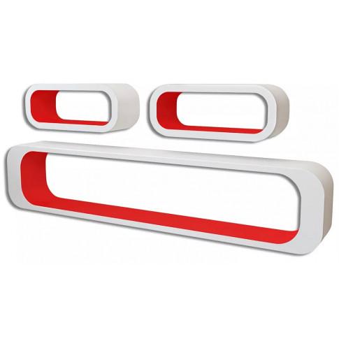 Zestaw biało-czerwonych półek ściennych Mins 2X