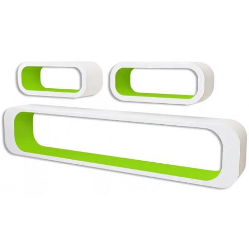 Zestaw biało-zielonych półek ściennych Mins 2X