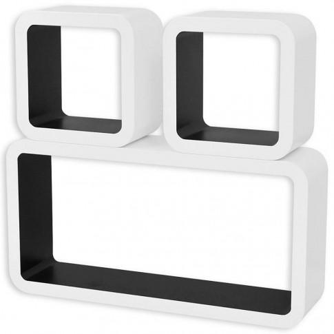 Zdjęcie produktu Zestaw biało-czarnych półek ściennych - Lara 2X.