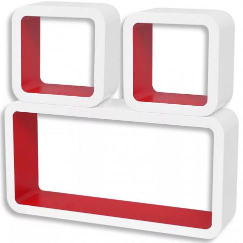 Zdjęcie produktu Zestaw biało-czerwonych półek ściennych - Lara 2X.