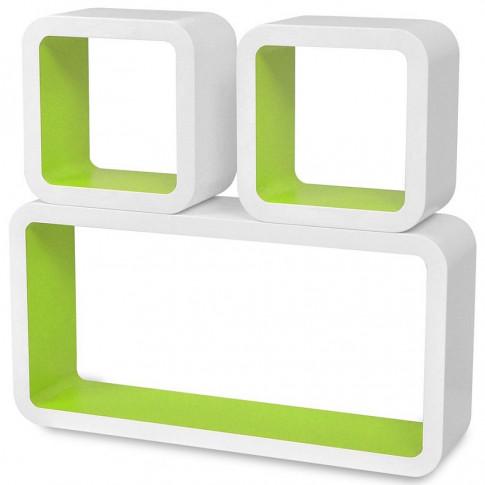Zdjęcie produktu Zestaw biało-zielonych półek ściennych - Lara 2X.