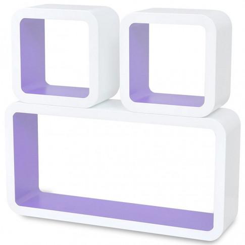 Zdjęcie produktu Zestaw biało-fioletowych półek ściennych - Lara 2X.