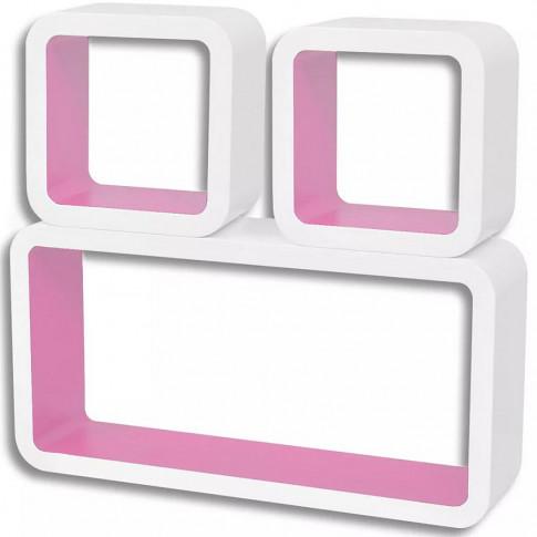 Zdjęcie produktu Zestaw biało-różowych półek ściennych - Lara 2X.