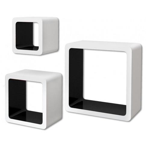Zestaw biało-czarnych półek ściennych Luca 2X