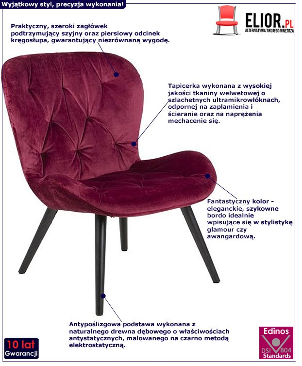 Pikowany fotel Magat - bordowy