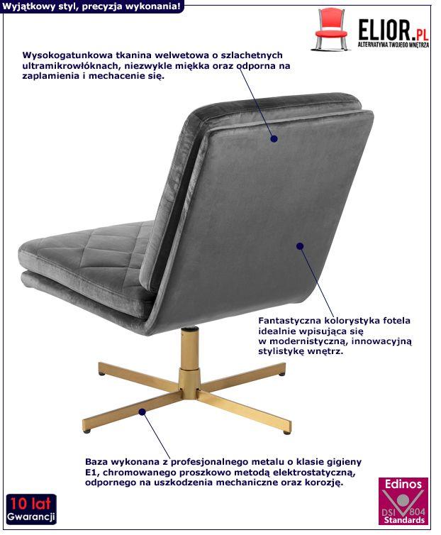 Pikowany fotel Ricco - ciemnoszary
