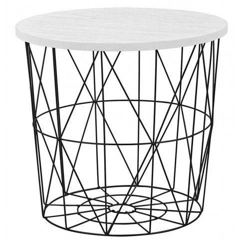 Zdjęcie produktu Okrągły stolik kawowy Rista - biały + czarny.